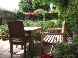 My garden in summer terrace view
